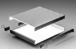 1U Chassis - Option A (Basic Design With Maximum Front Panel Space for Components and Perf + Rear Support for Deep Chassis)